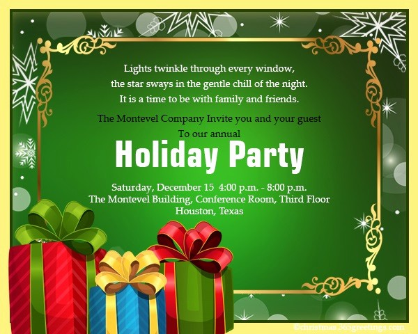 Sample Of Christmas Party Invitation New Christmas Invitation Template and Wording Ideas