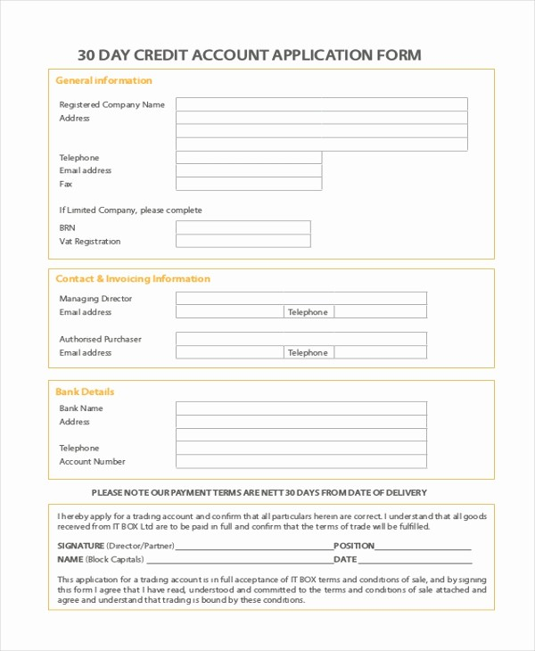 Sample Of Credit Application form Beautiful 11 Sample Credit Application forms Free Sample Example