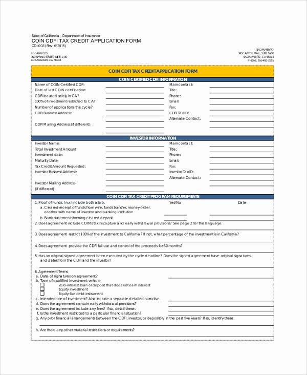 Sample Of Credit Application form Elegant 9 Sample Credit Application forms