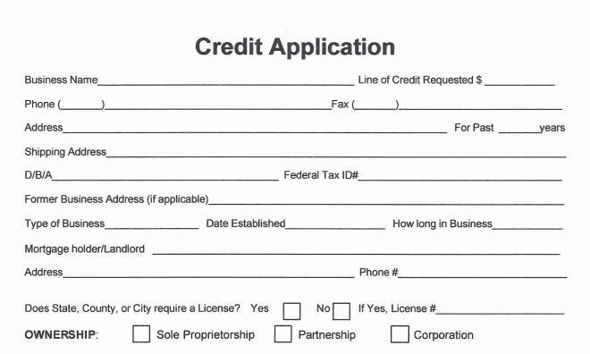 Sample Of Credit Application form Inspirational Free Business Credit Application form