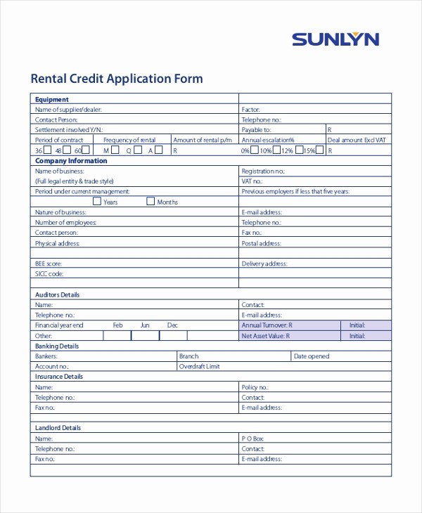 Sample Of Credit Application form New 11 Sample Credit Application forms Free Sample Example