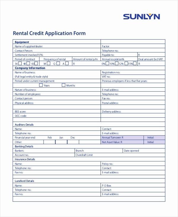 Sample Of Credit Application form New 11 Sample Credit Application forms Free Sample Example