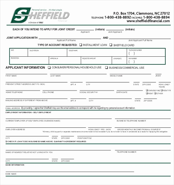 Sample Of Credit Application form New 15 Application form Templates – Free Sample Example