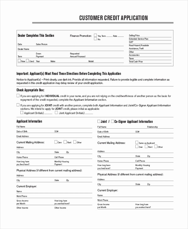 Sample Of Credit Application form New Sample Credit Application 10 Free Documents In Pdf