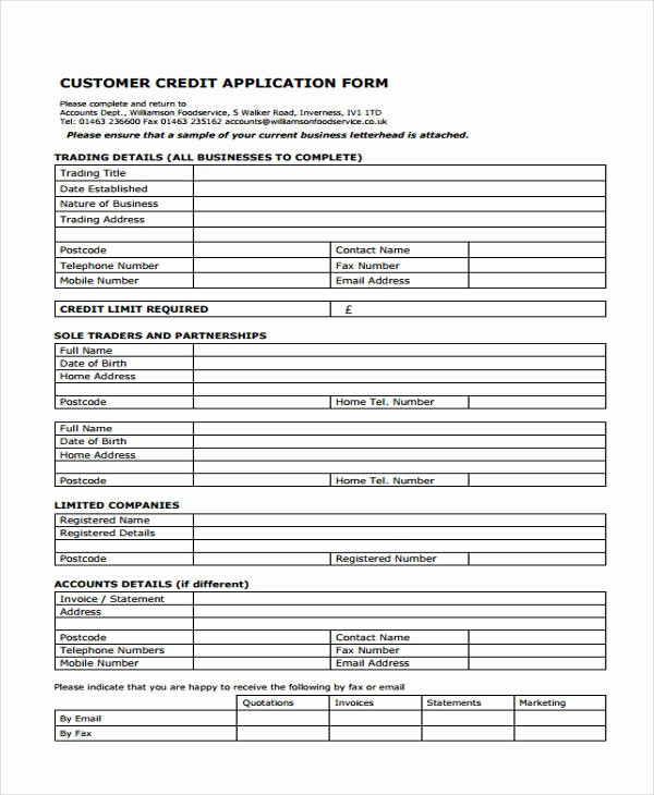 Sample Of Credit Application form Unique 15 Credit Application form Templates