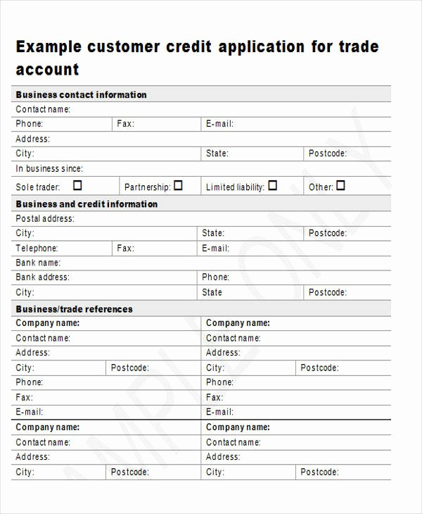 Sample Of Credit Application form Unique 44 Sample Application form Templates