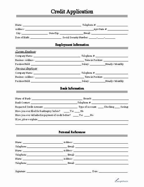 credit application form