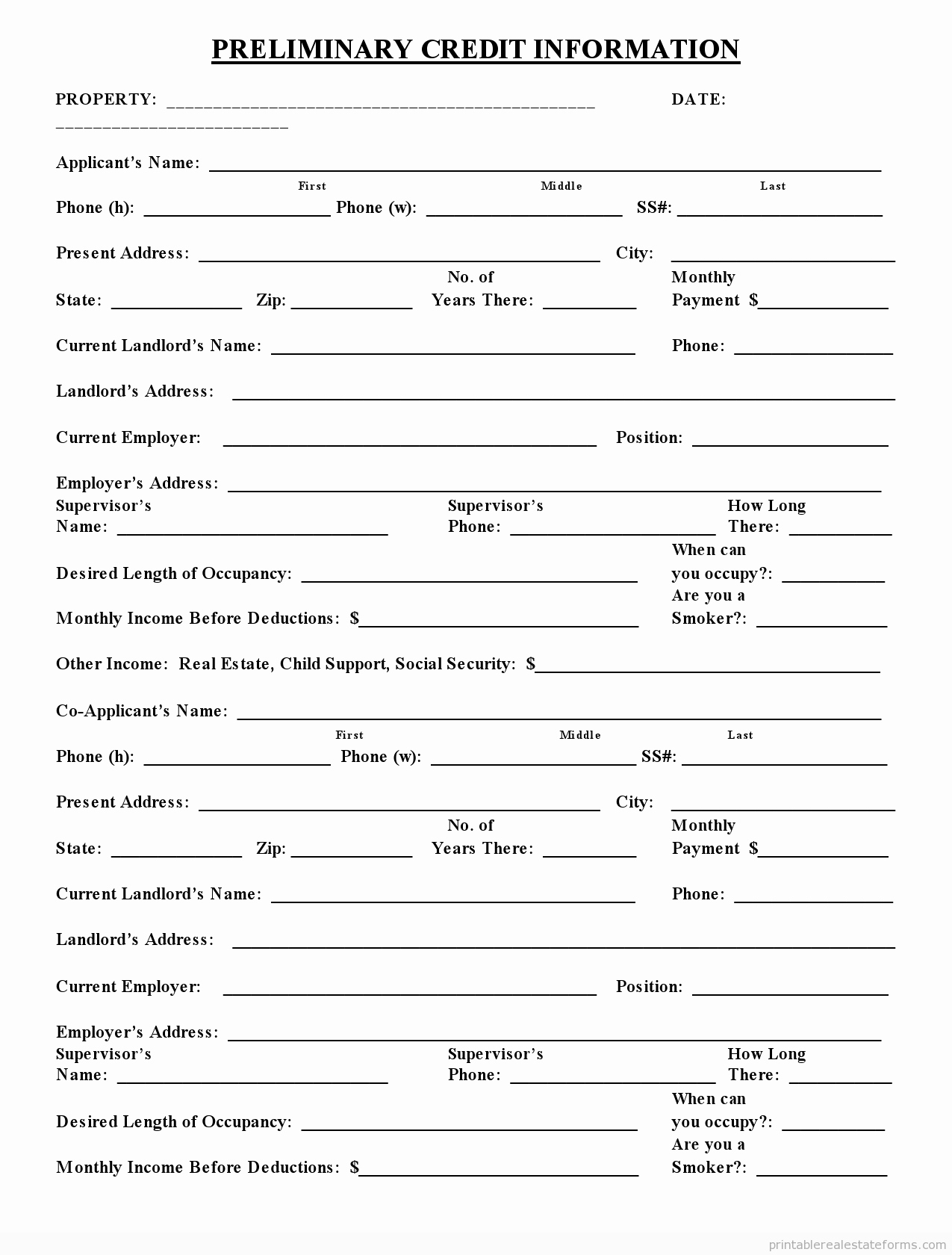 Sample Of Credit Application form Unique Sample Printable Preliminary Credit Application form