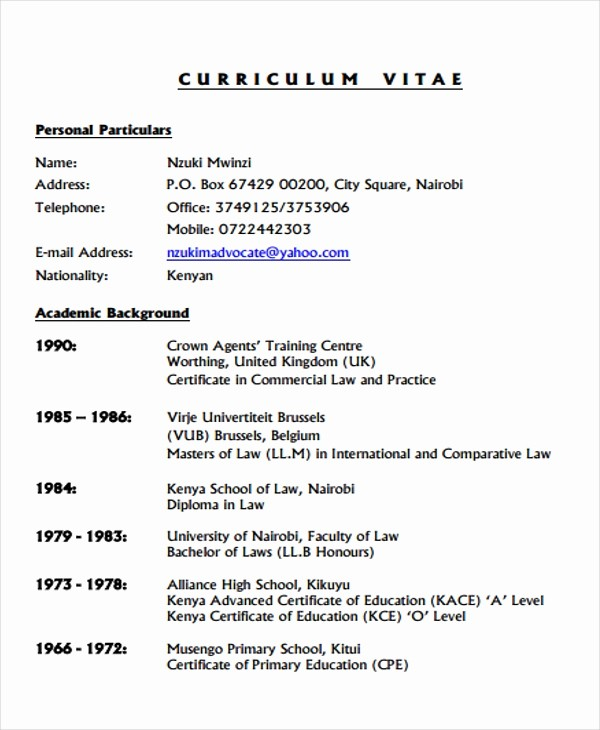 Sample Of Curriculum Vitae format Awesome 9 Legal Curriculum Vitae Templates Word Pdf