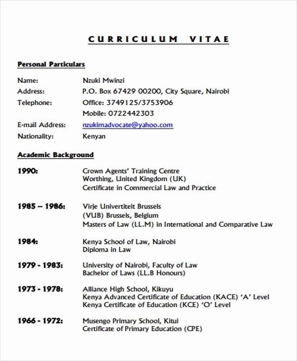 Sample Of Curriculum Vitae format Awesome 9 Legal Curriculum Vitae Templates Word Pdf
