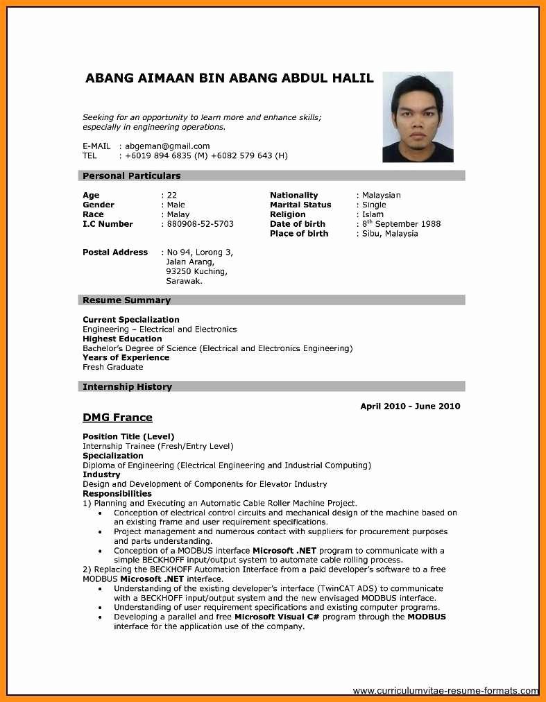 Sample Of Curriculum Vitae format Beautiful 8 Curriculum Vitae Template