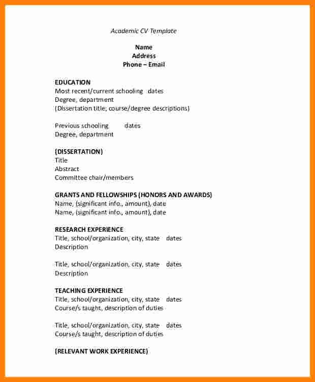 Sample Of Curriculum Vitae format Best Of 9 Cv format Samples Pdf