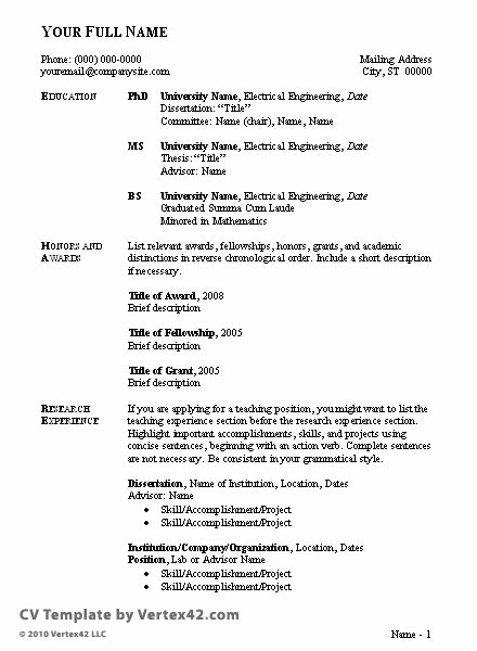 Sample Of Curriculum Vitae format Best Of Sample Curriculum Vitae format for Students