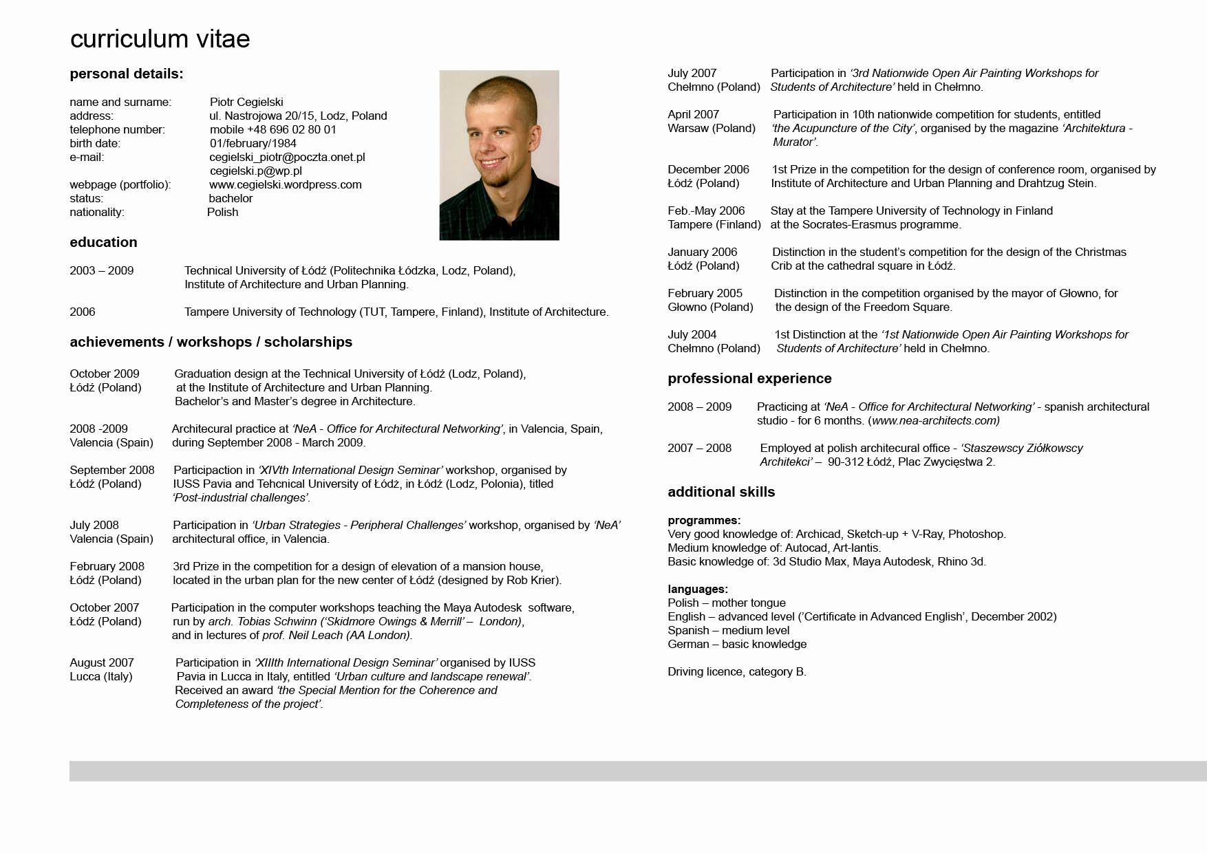 Sample Of Curriculum Vitae format Inspirational Curriculum Vitae Resume Cv