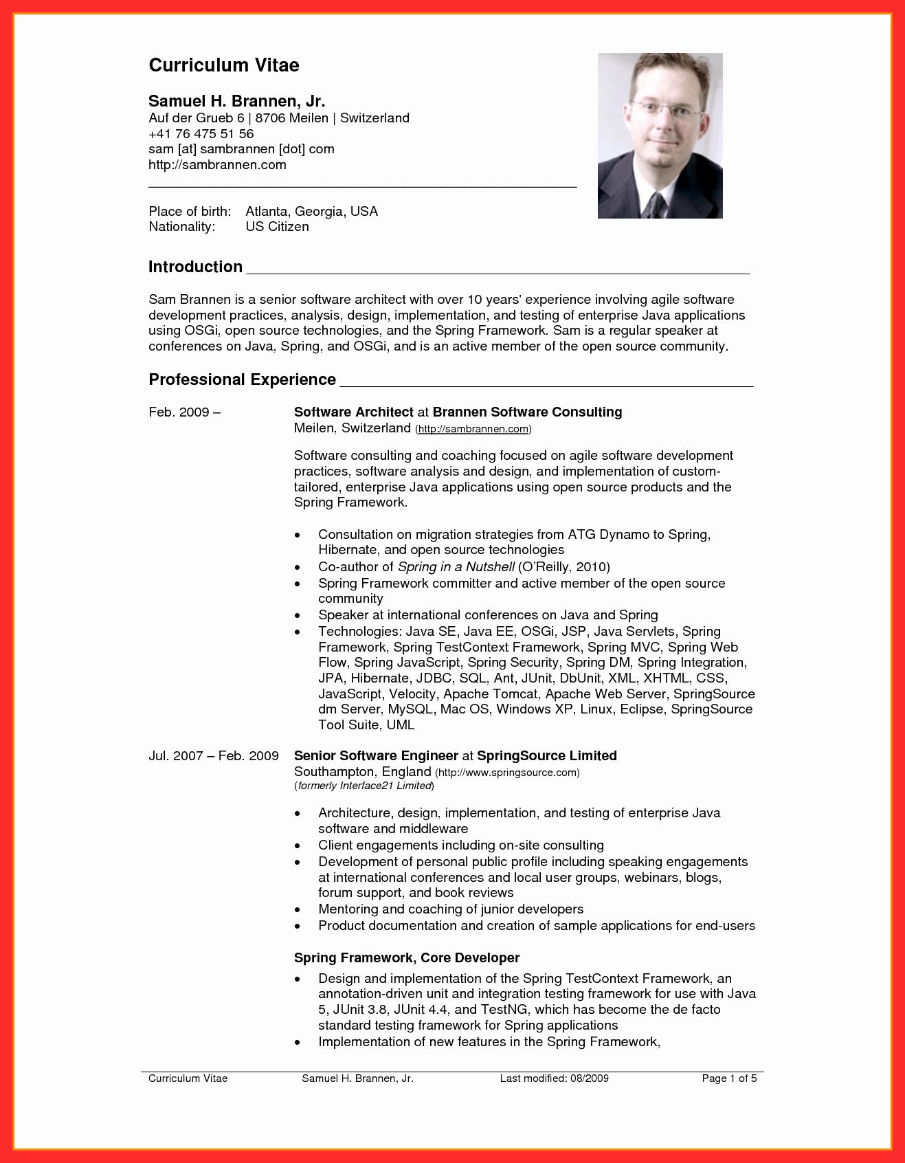 Sample Of Curriculum Vitae format Inspirational Resume Usa Template