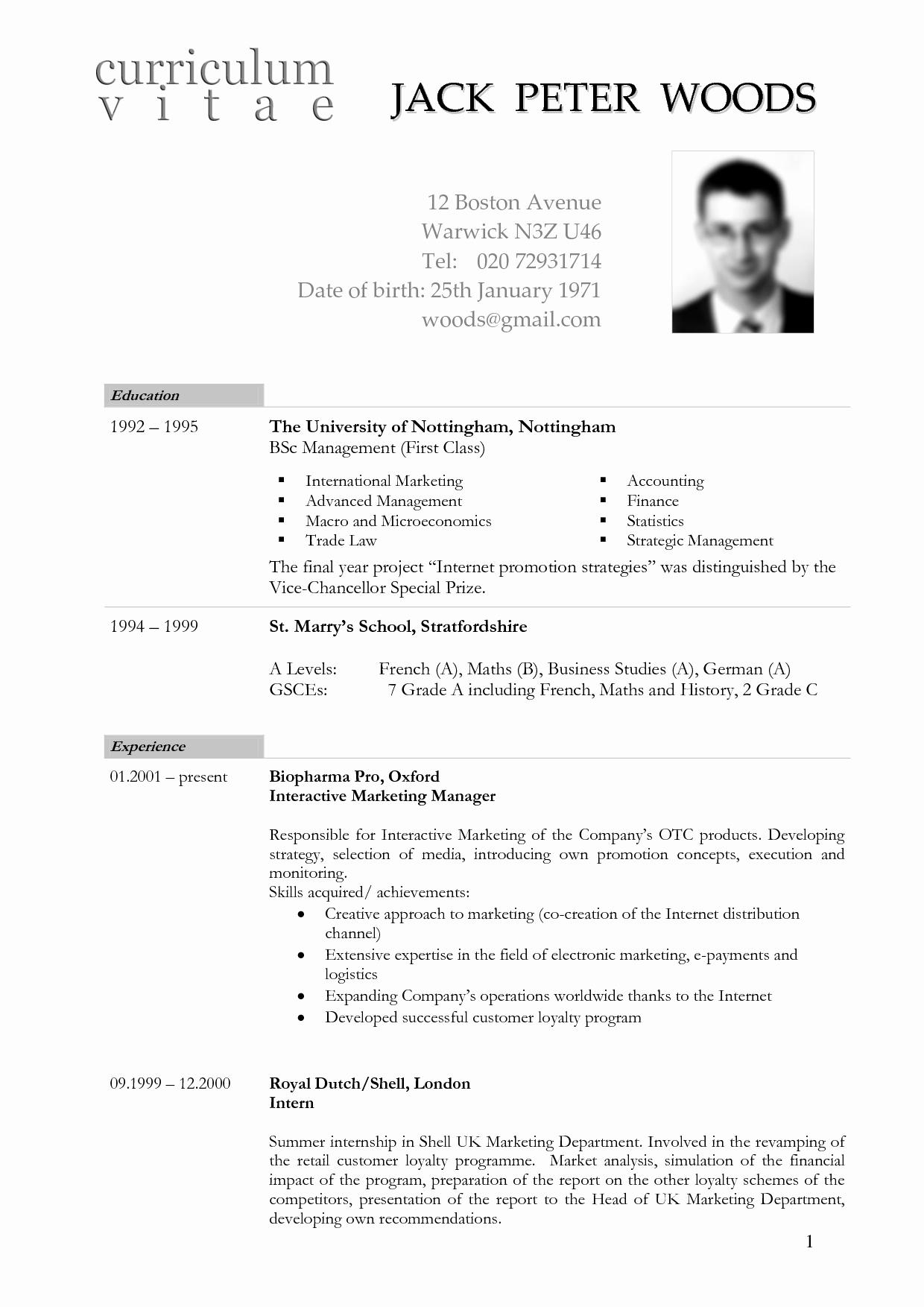 Sample Of Curriculum Vitae format Lovely German Cv Template Doc