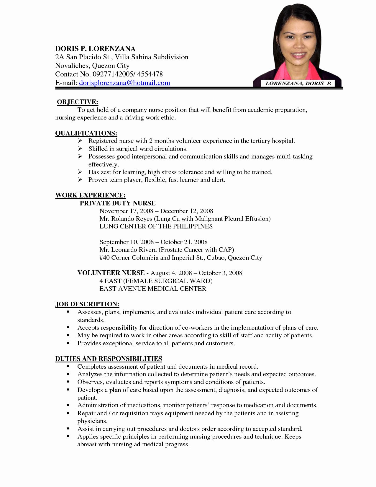 Sample Of Curriculum Vitae format Luxury Image Result for Curriculum Vitae format for A Nurse