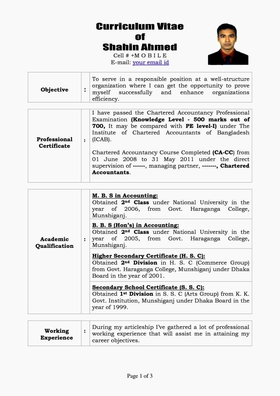 Sample Of Curriculum Vitae format Luxury Personal Cv format Bd Doc Resume Template