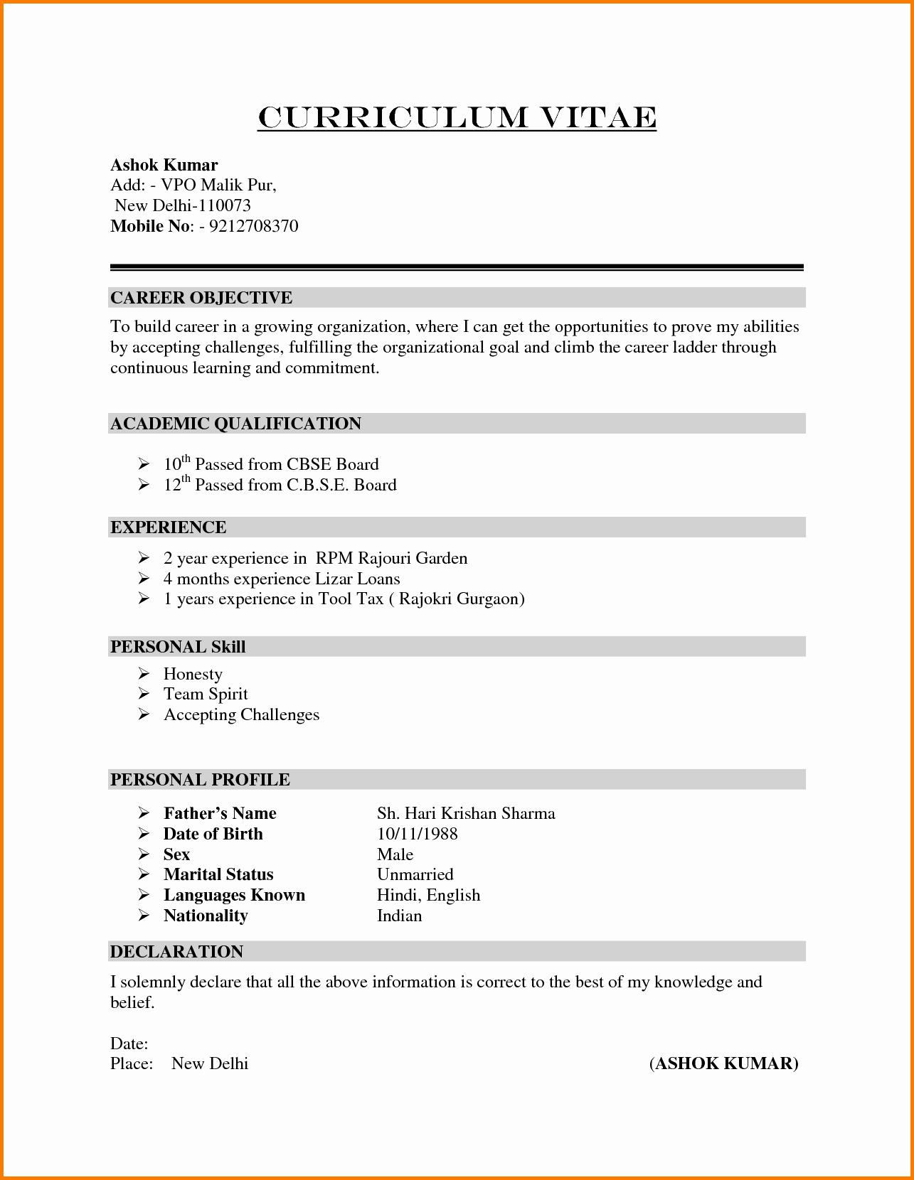 Sample Of Curriculum Vitae format New 6 formal Cv format Sample
