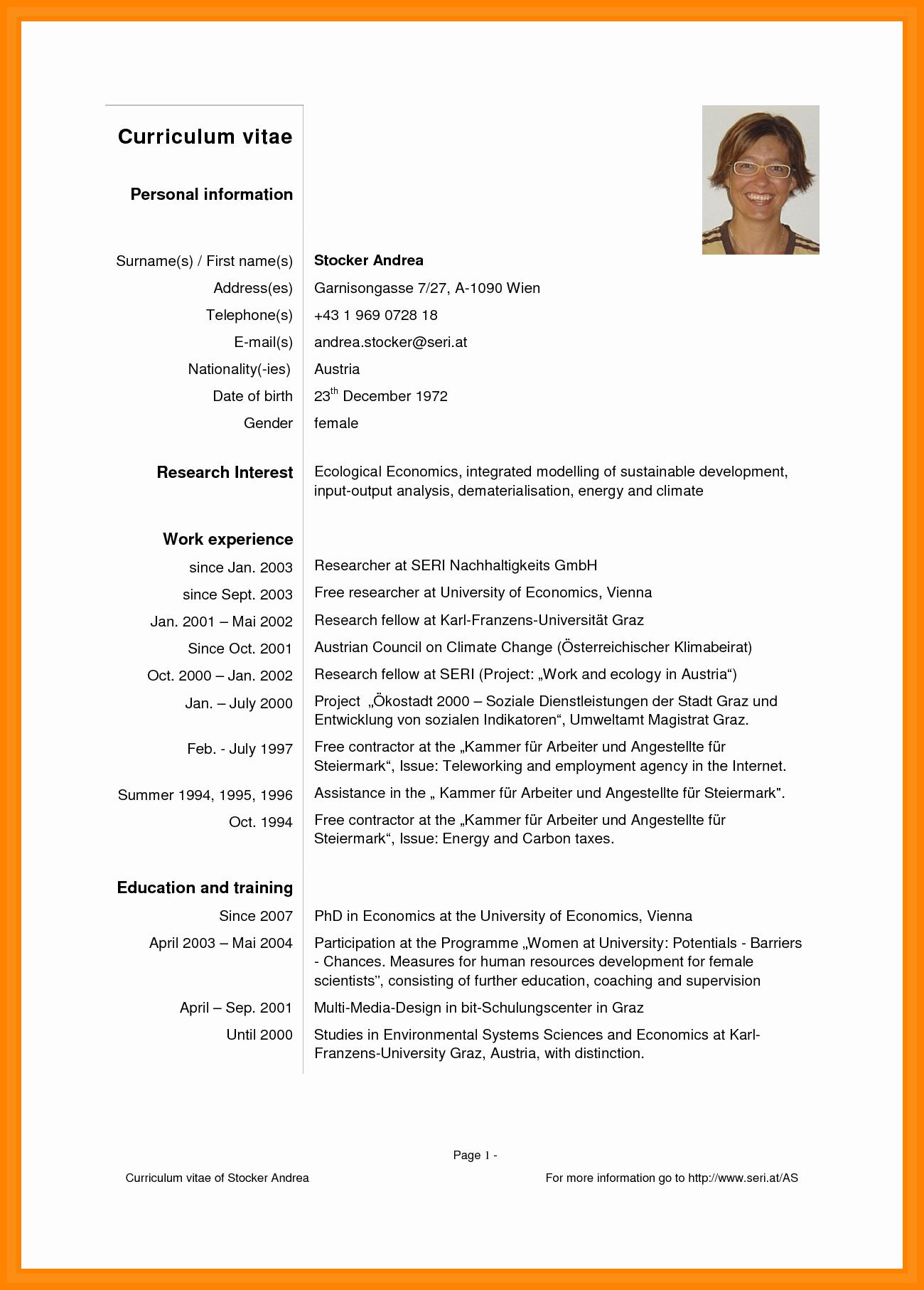 Sample Of Curriculum Vitae format New 9 Curriculum Vitae English Pdf