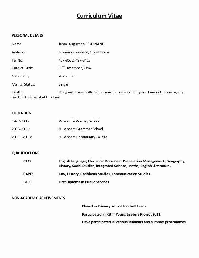 Sample Of Curriculum Vitae format Unique 5 Example Of How Can We Write Cv