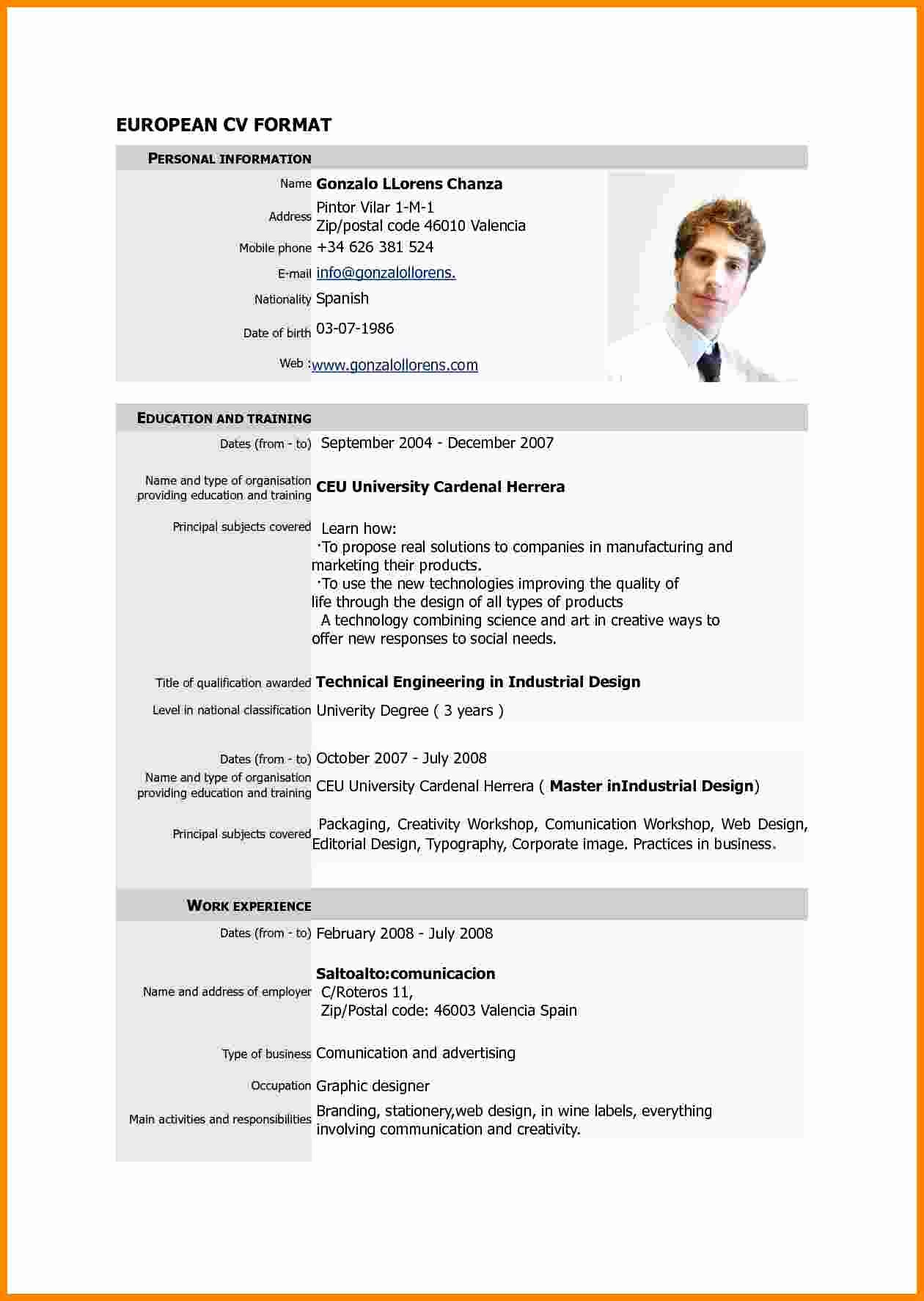 Sample Of Curriculum Vitae format Unique 7 Cv Resume Sample Pdf