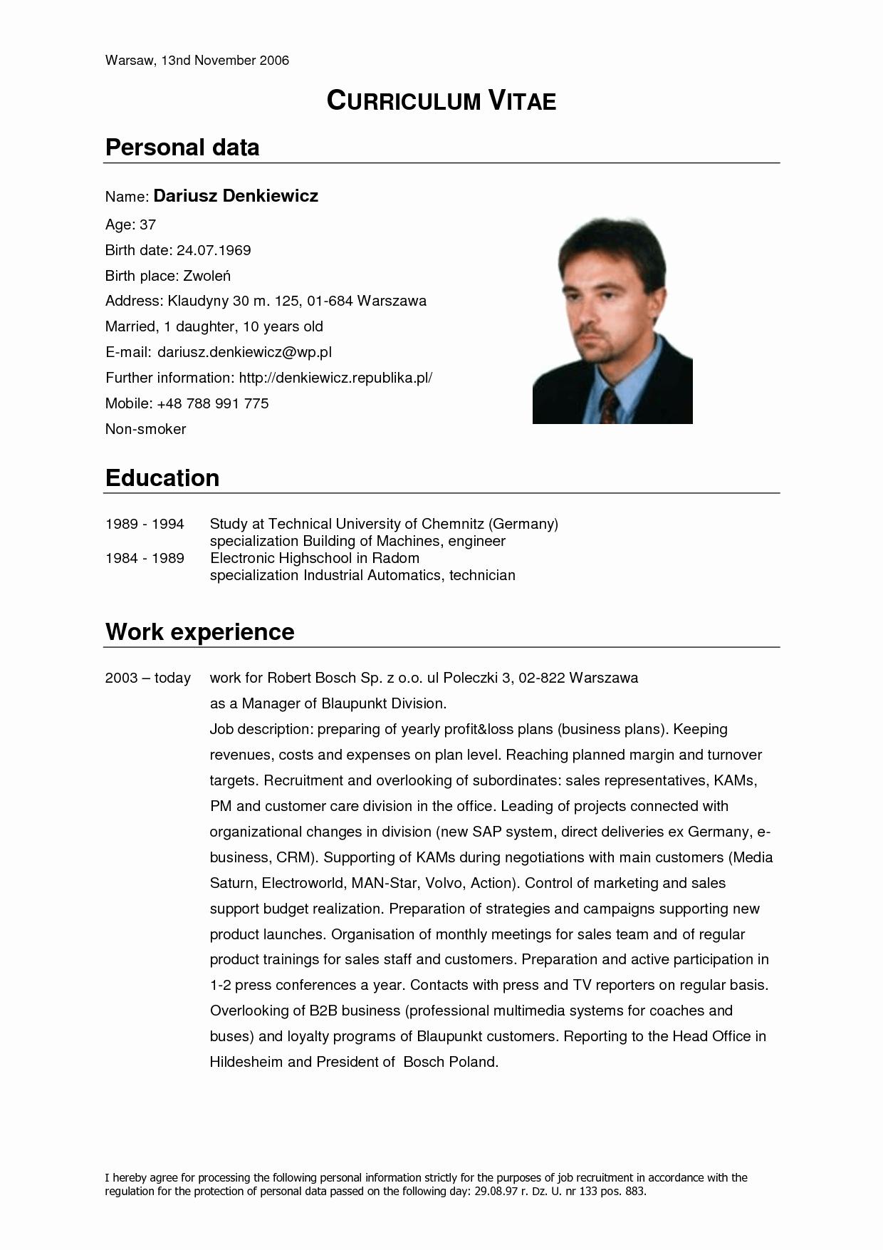 Sample Of Curriculum Vitae format Unique German Cv Template Doc