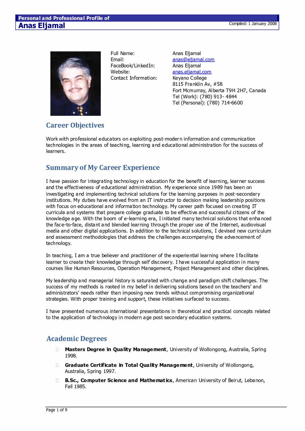Sample Of Curriculum Vitae format Unique Resume Sample Doc