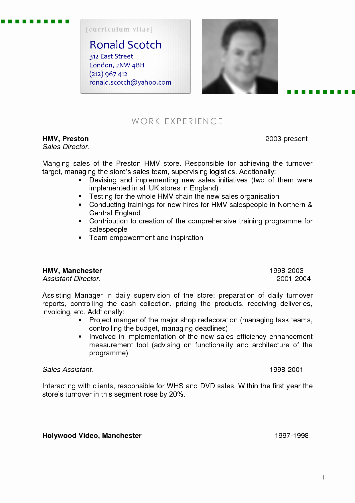 Sample Of Curriculum Vitae format Unique Sample Cv