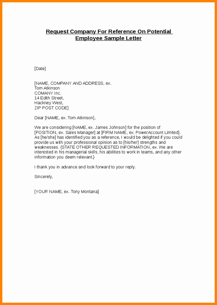 Sample Of Employee Reference Letter Best Of 6 Job Reference Letter for Employee