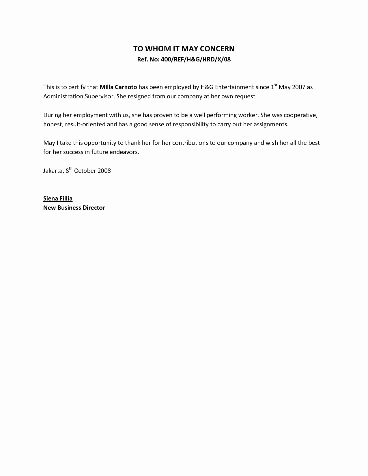 Sample Of Employee Reference Letter Inspirational Job Letter From Employer