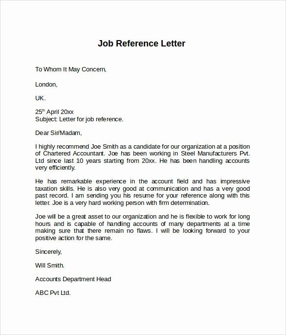 Sample Of Employee Reference Letter Lovely 8 Job Reference Letters – Samples Examples & formats