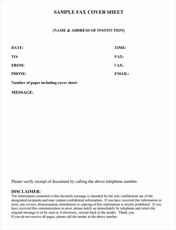 Sample Of Fax Cover Sheet Inspirational Fax Cover Sheet Template 6 Free Download In Word Pdf