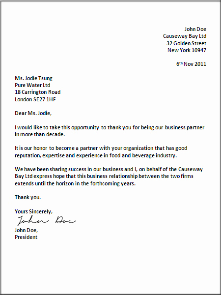 Sample Of formal Business Letter Awesome formal Business Letter format