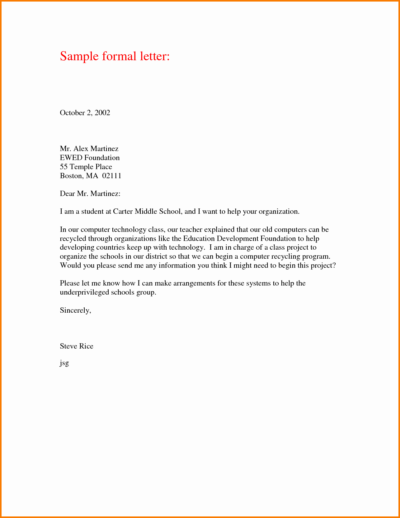 Sample Of formal Business Letter New 6 formal Business Letter Samples
