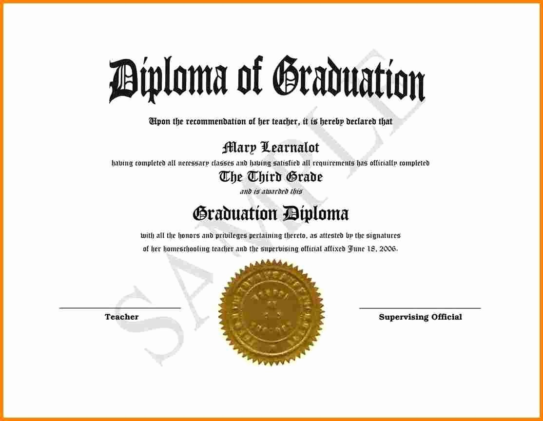 Sample Of High School Diploma Fresh High School Diploma Template