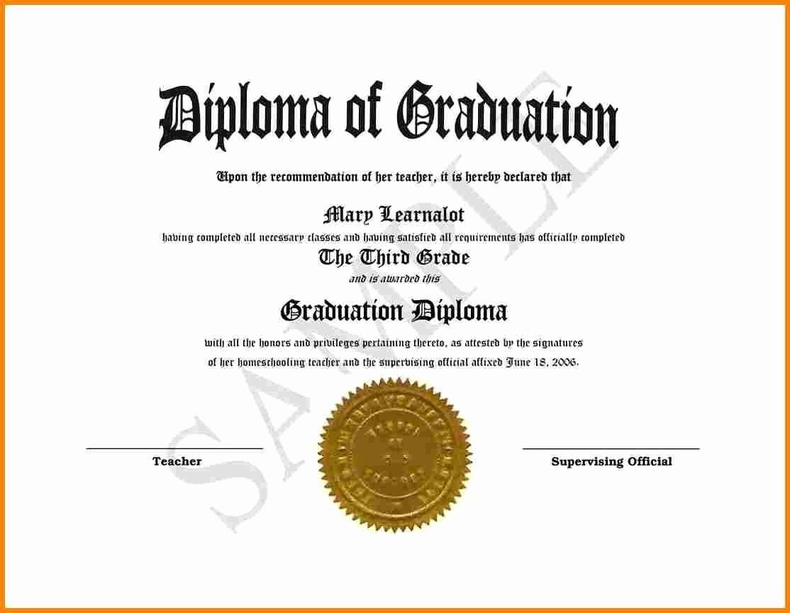 Sample Of High School Diploma Fresh High School Diploma Template
