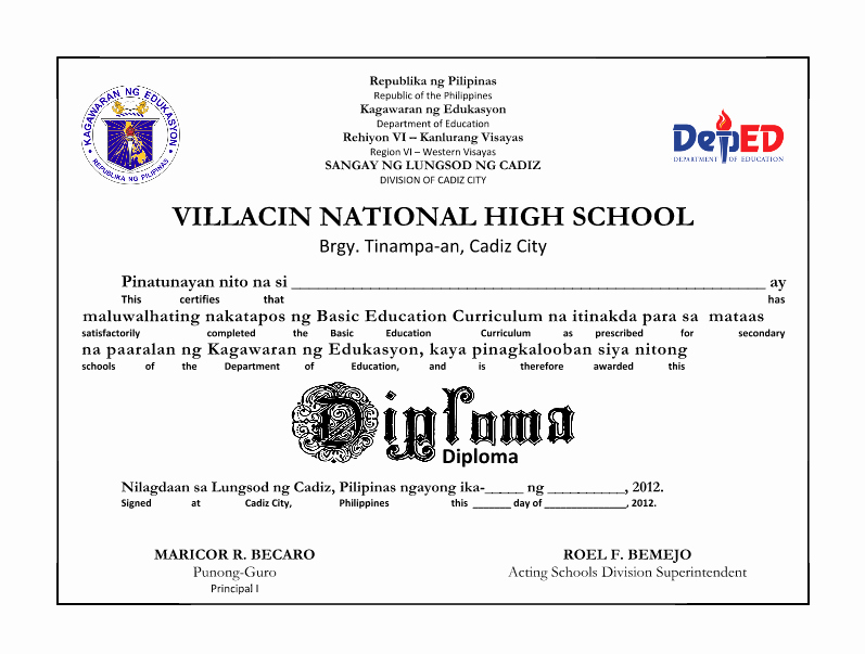 Sample Of High School Diploma Inspirational High School Diploma Free Template Deped Secondary School