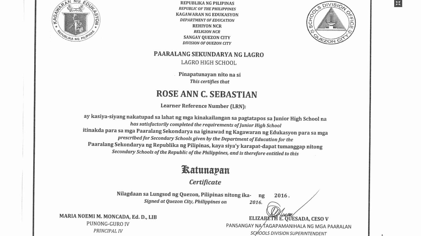 Sample Of High School Diploma New Deped Quezon City Sample Junior High School Certificate