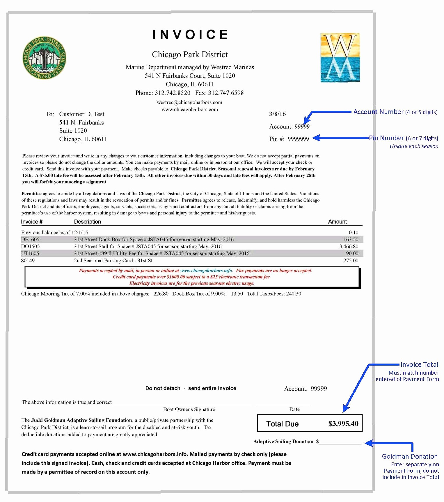 Sample Of Invoice for Payment Best Of Payments Chicago Harbors