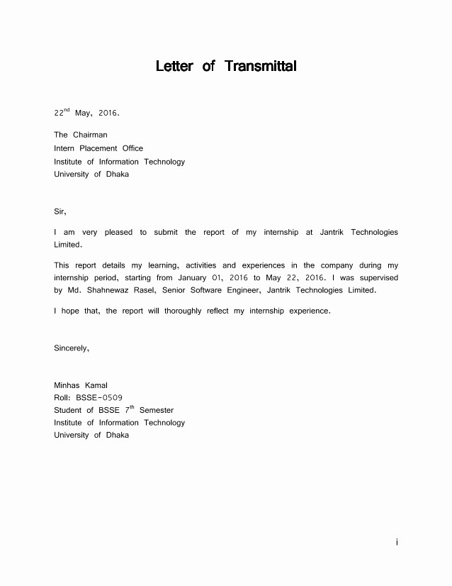 Sample Of Letter Of Transmittal Best Of Letter Of Transmittal