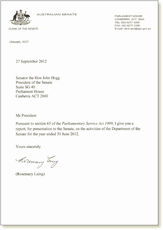 Sample Of Letter Of Transmittal Fresh Letter Of Transmittal – Parliament Of Australia