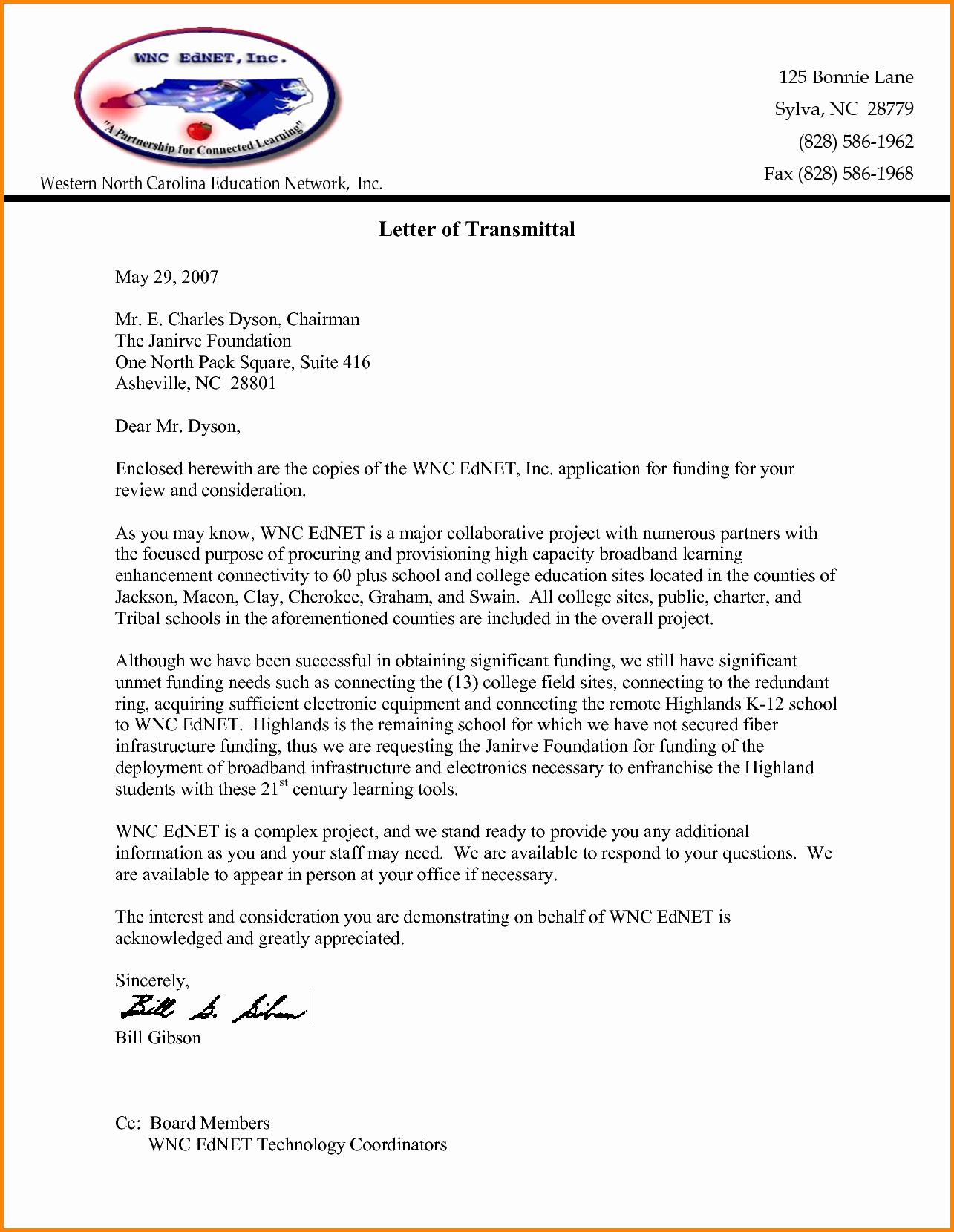 Sample Of Letter Of Transmittal Fresh Letter Transmittal for Proposal Portablegasgrillweber