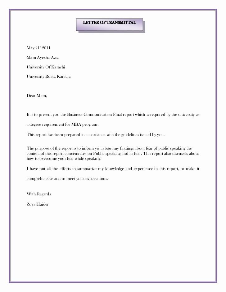 Sample Of Letter Of Transmittal Inspirational Letter Of Transmittal