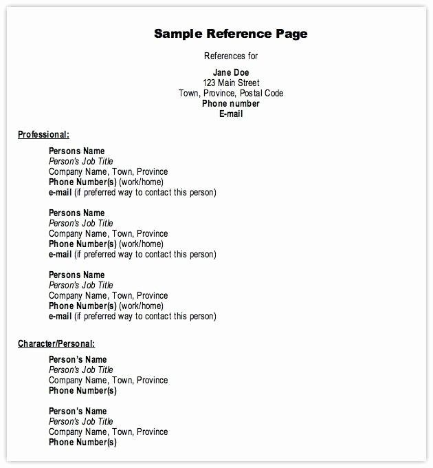Sample Of List Of References Beautiful Character Reference Resume Best Resume Collection