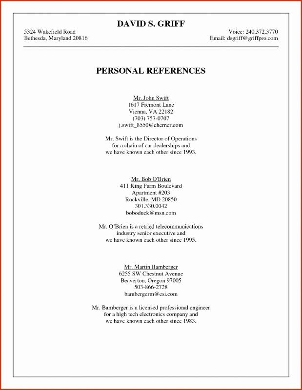 Sample Of List Of References Fresh List References Sample