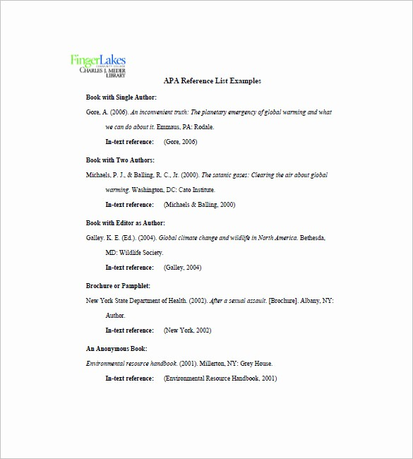 Sample Of List Of References Fresh List References Template