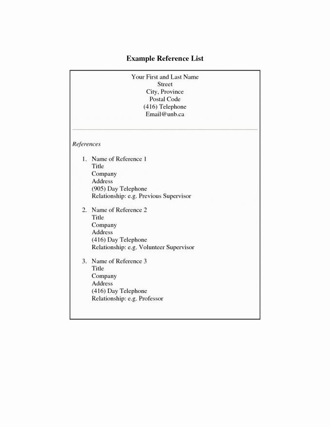 Sample Of List Of References Fresh Resume References Example