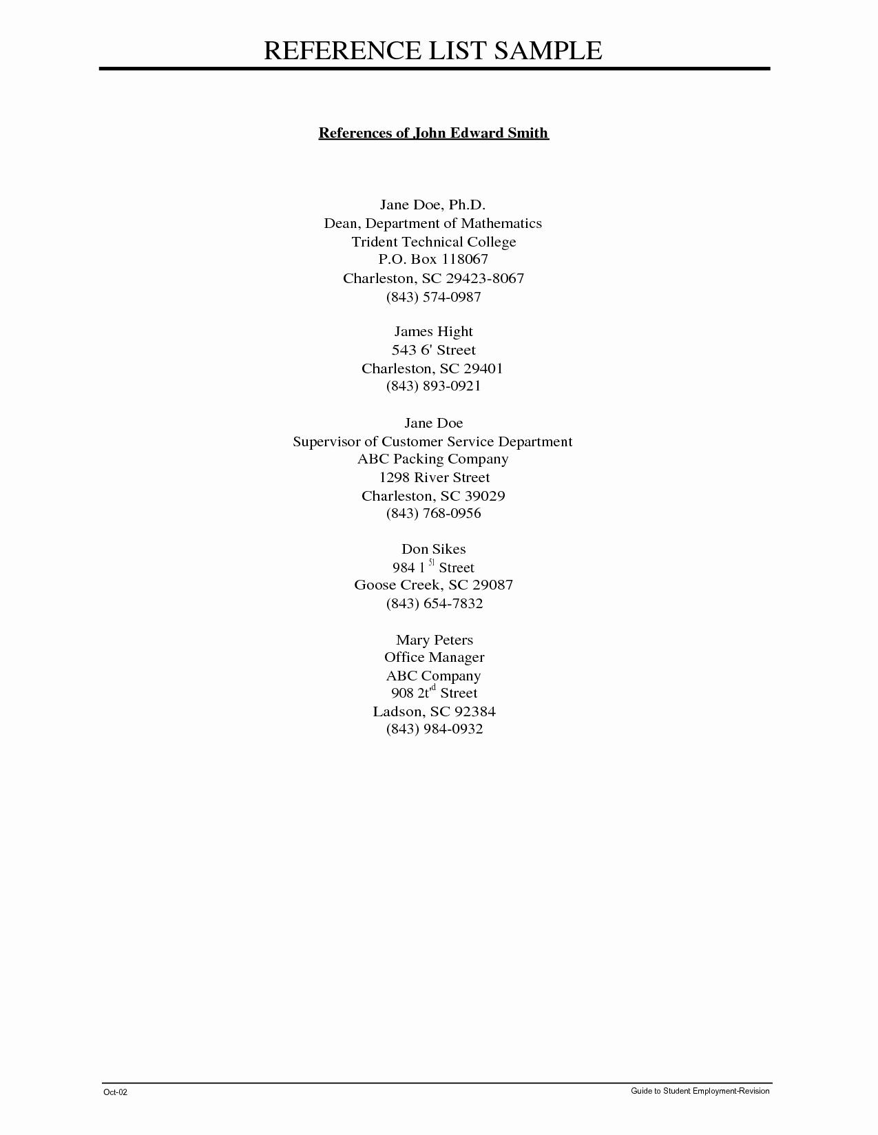 Sample Of List Of References Fresh Sample Professional Reference List Portablegasgrillweber