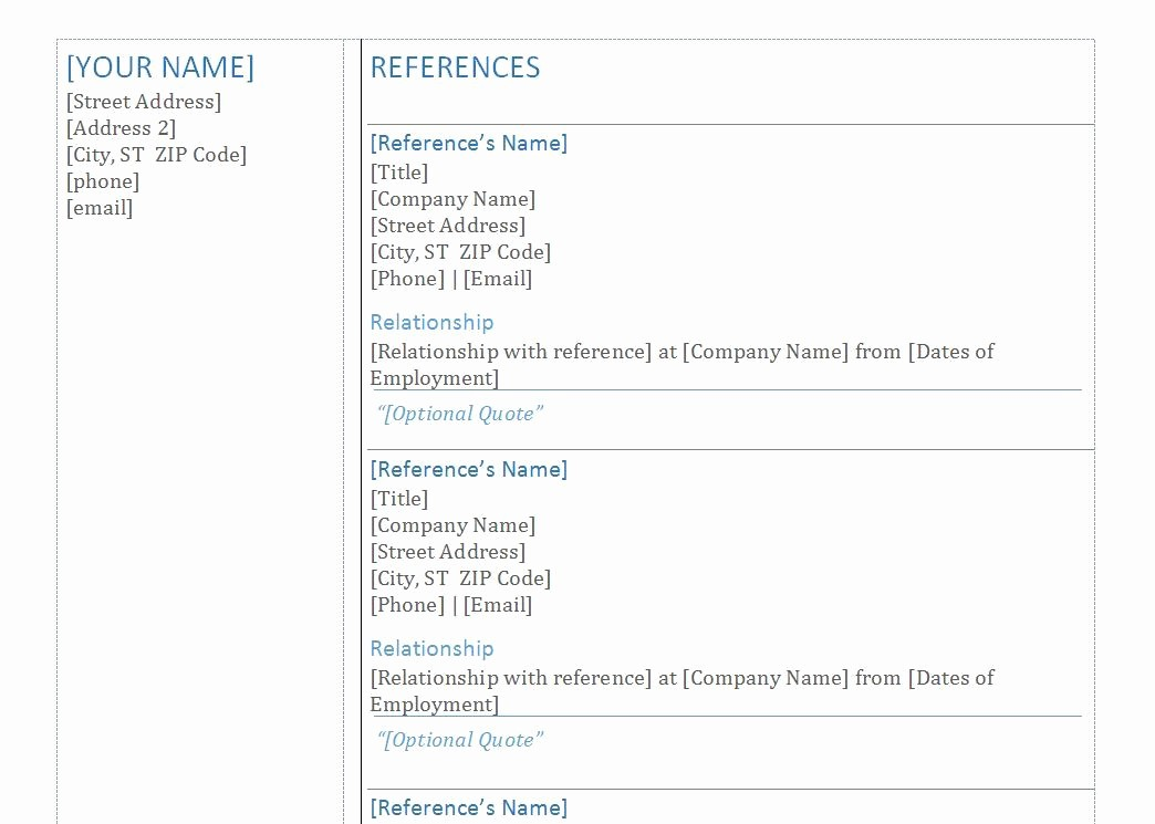 Sample Of List Of References Inspirational List References Template